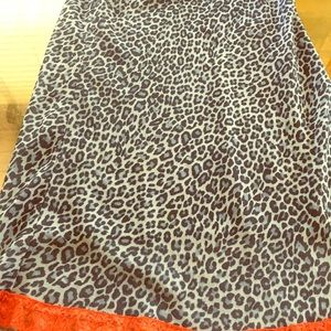 Adorable leopard skirt! Fun red lace hem